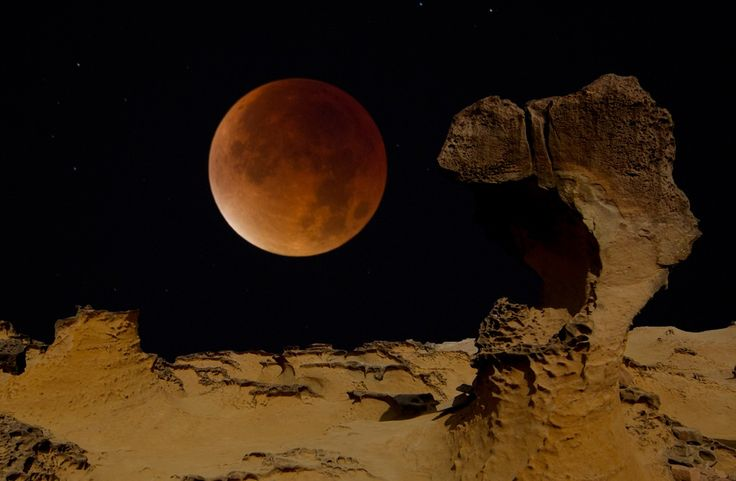 https://flic.kr/p/zoCTyA | Taiwan. | Taiwan. Blood moon over Yehliu. This is a composite image. The moon was photographed in London and the foreground of Yehliu in Taiwan was added.