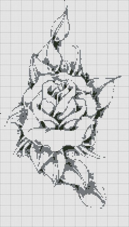 Cross-stitch Rose ... no color chart available, just use pattern chart as your color guide.. or choose your own colors...: