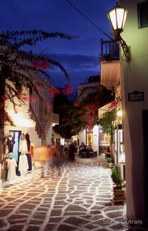 Mykonos Town at night, Greece