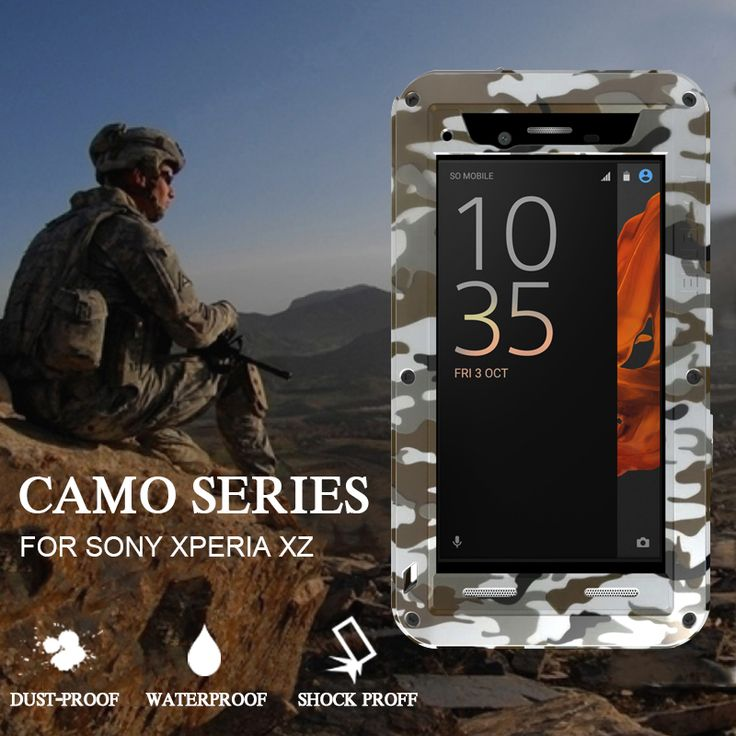Case for Sony Xperia XZ Case Camo Aluminum Cover Case Series for Sony Xperia XZ Original Hard Waterproof Shockproof Case Carcasa