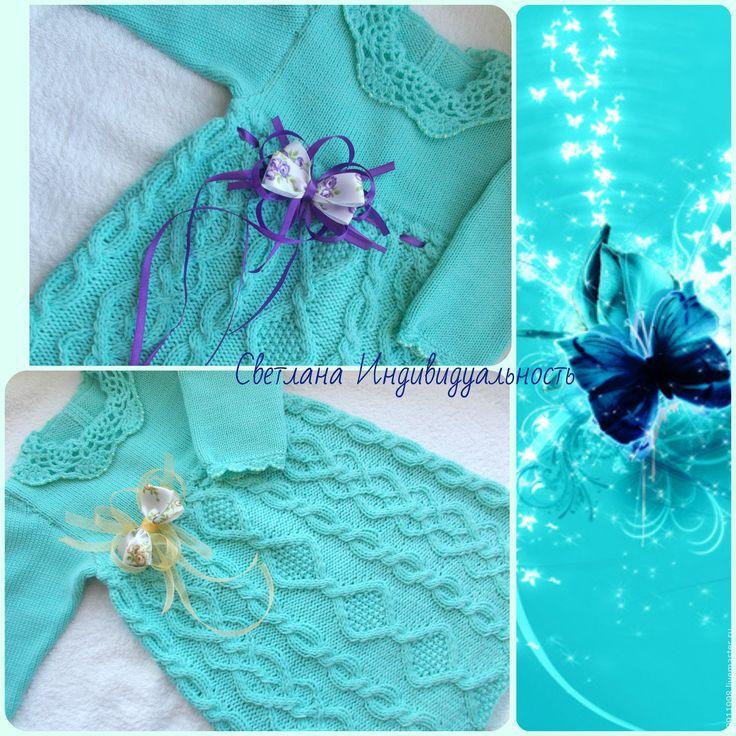 Купить Платье Голубая лагуна - бирюзовый, абстрактный, платье, платье для девочки, платье вязаное