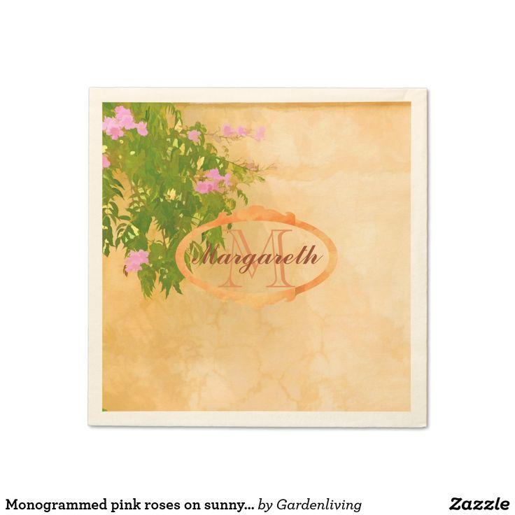 Monogrammed pink roses on sunny Mediterranean wall Napkin