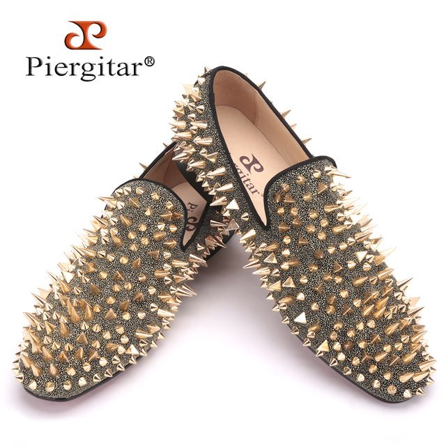 PIERGITAR brand Handmade Long Gold Rivet Men's Red Bottom Loafers Gentleman Luxury Fashion Stress Shoes Wedding Party Slip on Flats