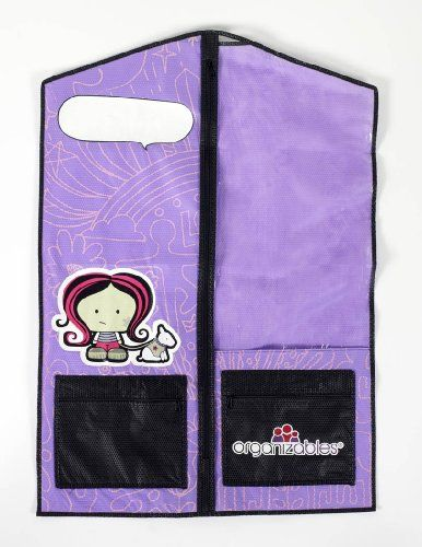 Organizables Children's Hanging Clothes Organizer, Girls Single Deluxe Garment Bag, Purple:   The Organizables single garment bag provides the same solutions as the larger weekday and weekend organizable sets. Use the single garment bag to keep special occasion outfits protected and separate from everyday clothing. Great for keeping sports or dance uniforms organized and easy to find. The single garment bag is nice for travel as well. The single garment bag has a brightly colored desig...