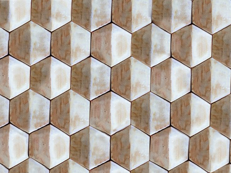 Handmade hexagon ceramic tiles in white and golden brown