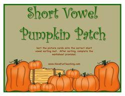 Vowel Sounds Activity, Vowels Activity, Short Vowel Sounds Activity, Pumpkin Activity