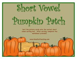 Vowel Sounds Activity, Vowels Activity, Short Vowel Sounds Activity, Pumpkin Activity