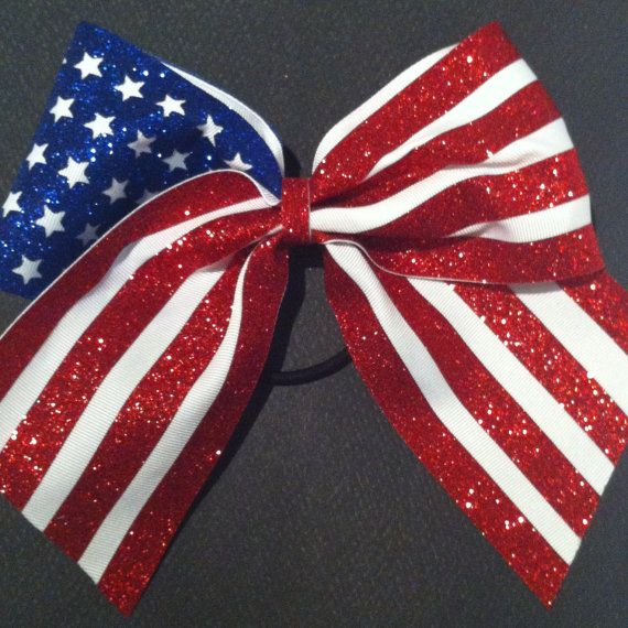 3in. Glitter American Flag Cheer Bow by BowsByTeri on Etsy