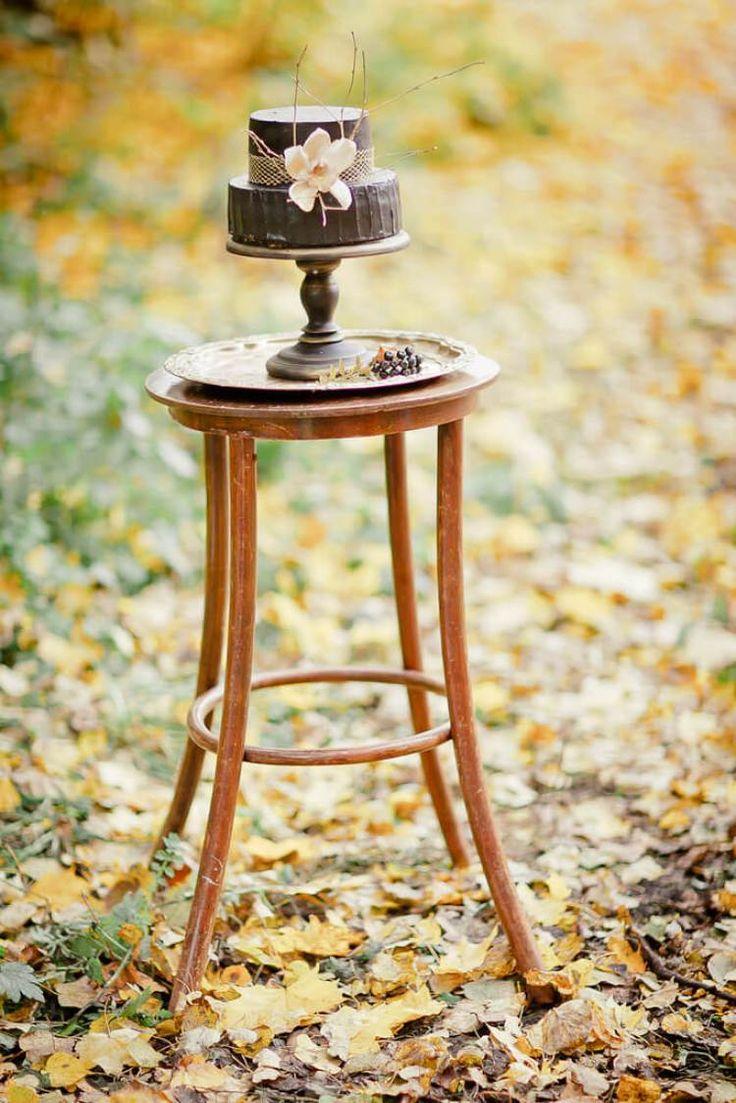 Золото черный Осенние свадьбы вдохновение -черный Торт на подставке