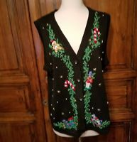 Victoria Jones Women's sz M Ugly Christmas Sweater Vest Toy Train Bear FLAW