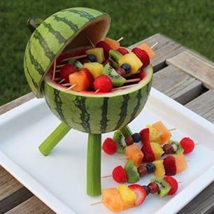 Esta linda barbacoa o asador frutal le dará un toque especial a tus #fiestas ¡Sorprendelos a todos!  #InstaFood #Fruits #Partys  INGREDIENTES:  1 Sandia.  Palos de chuzo o pinchos.  Frutas a tu eleccion (Kiwi, fresas, mango, uvas, papaya, mango, etc)  Tallos de apio, consistentes.  ARMADO.  1- Corta la sandia en 2 y saca todo su interior. 2- Con dos palitos sostén la tapa de la barbacoa, como se muestra en la imagen. 3- Corta 3 tallos de apio, por el interior de ellos pasa un palito de…