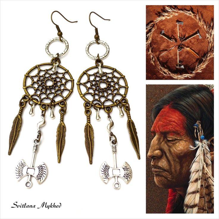"""Boucles d'oreilles """"Attrape Rêves. Dreamscatcher. Tomahawk"""". Style Américindien. : Boucles d'oreille par perles-et-couronnes"""