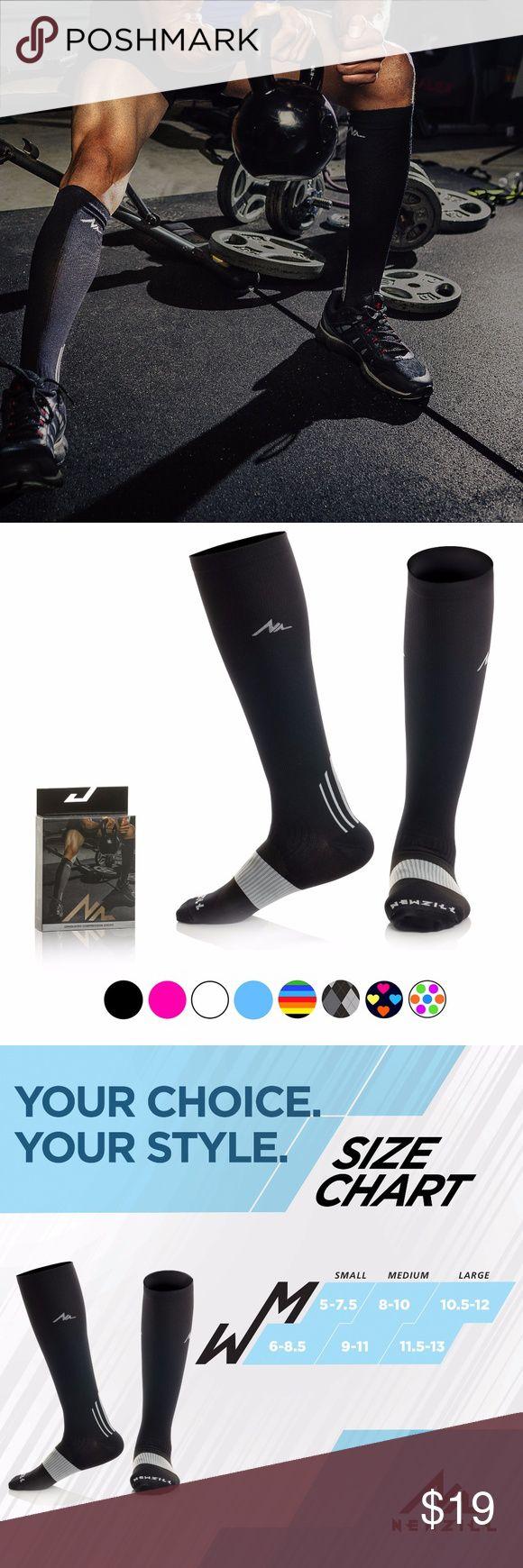 24-SEVEN BLACK NEWZILL Compression Socks (1 pair), Men & Women Running Socks - BEST Graduated Athletic Fit for Sports, Nurses, Shin Splints, Maternity & Flight Travel NEWZILL GEAR Underwear & Socks Athletic Socks