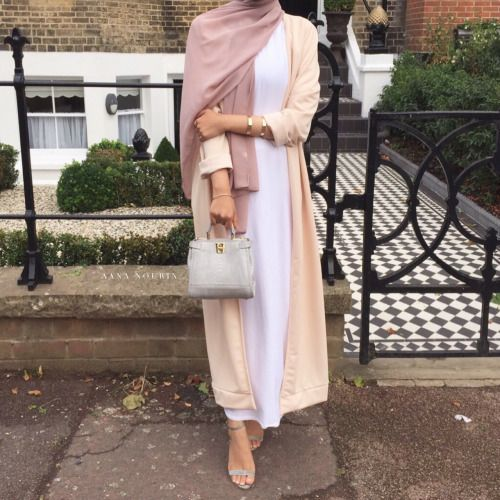 Pinterest: eighthhorcruxx. White abaya, long cardigan and hijab.