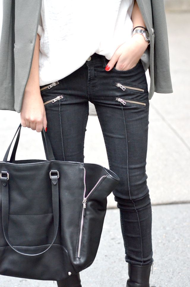 double zipper and seam down the center of the leg.