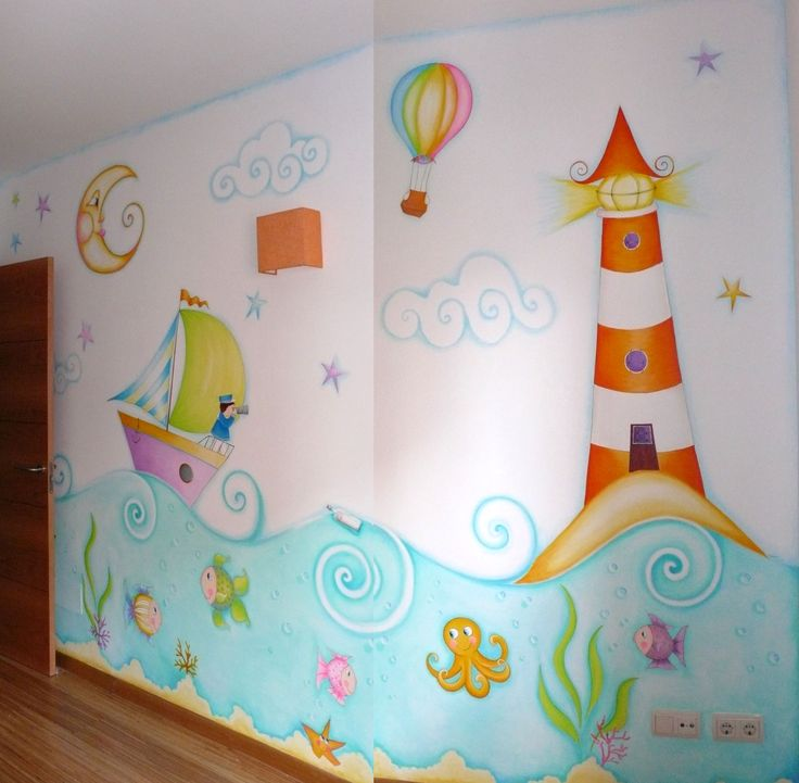 Mural marino murales infantiles pinterest school for Ideas para decorar paredes infantiles