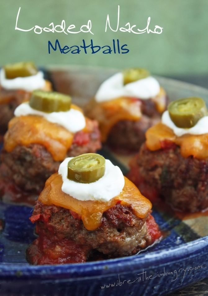 Loaded Nacho Meatballs Recipe I'd use salsa, taco seasoning, and mix jalapenos and shredded cheese right in them.