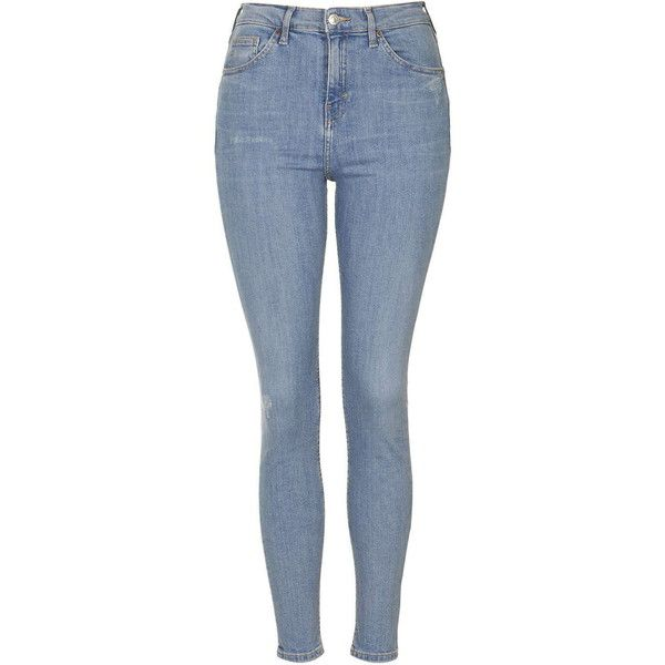 TopShop Moto '90s Bleach Jamie Jeans ($58) ❤ liked on Polyvore featuring jeans, pants, bottoms, calças, bleach, high waisted skinny jeans, rock and roll jeans, high rise skinny jeans, topshop and blue skinny jeans