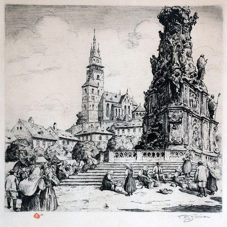 Tavik František Šimon [1877-1942] / Square in Kremnica / PART 2  (1912-1925)  According to the Catalogue Raisonné by Arthur Novak / http://www.tfsimon.com/pictures-of-graphics-2.html