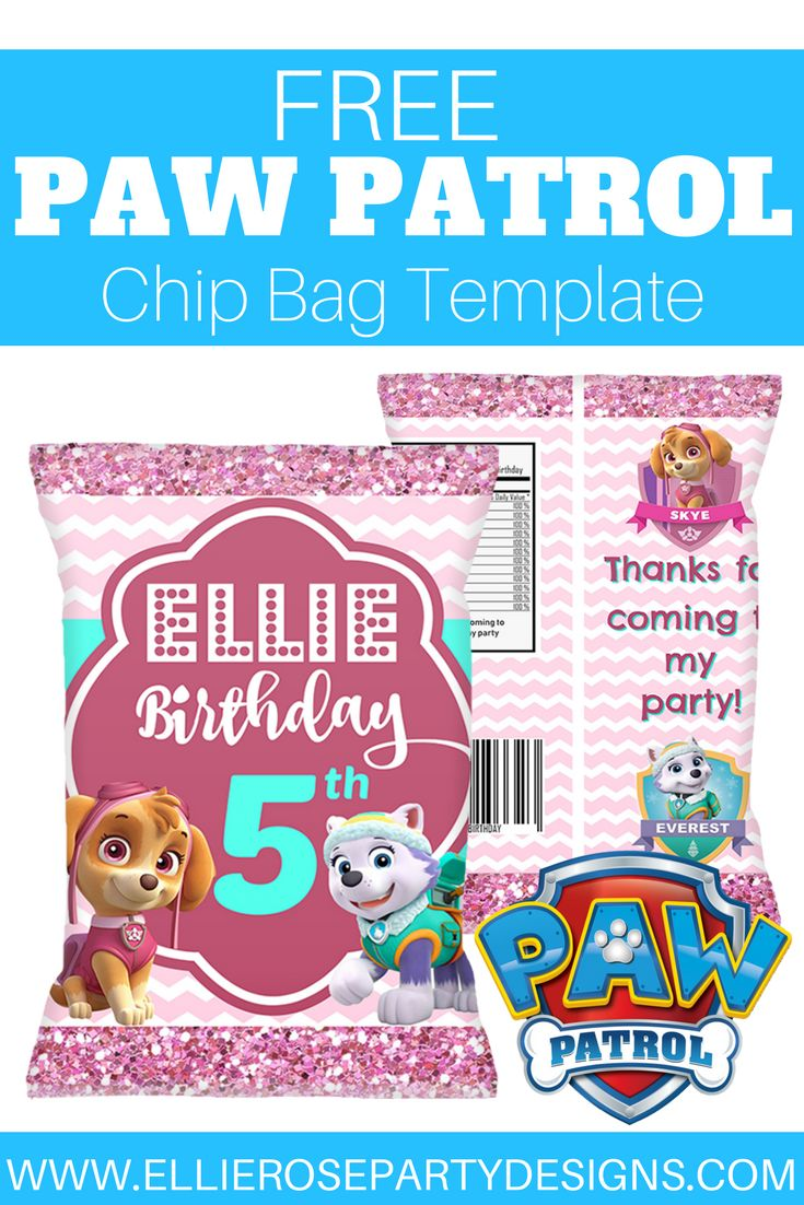 Paw Patrol Skye and Everest Party Ideas.  Check out this free chip bag template printable.  Great as a party favor or add to your dessert table