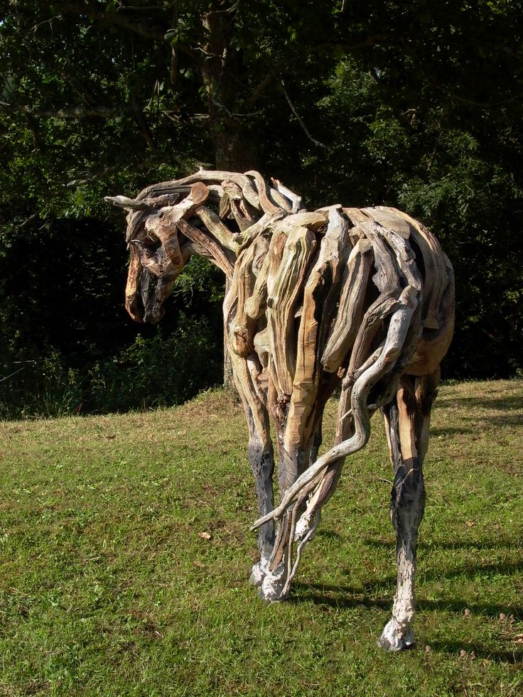 dartmoor oak driftwood pony in southwest sculpture garden