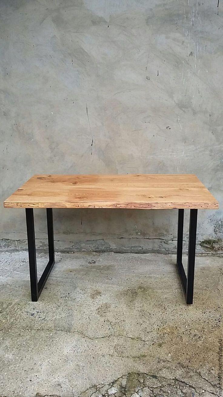 Купить или заказать Обеденный стол в стиле Лофт в интернет-магазине на Ярмарке Мастеров. Стол обеденный Размер 1300х800х750 Столешница массив дуба, покрытие тонированное масло + масло-воск Osmo Каркас - труба профилированная 40x40 окраска в чёрный матовый. Изготавливаем мебель на металлокаркасе в индивидуальных размерах по вашим размерам и образцам с фото. Столы, тумбы, консоли, журнальные столики, полки, стеллажи.