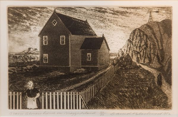 David Blackwood etching, Gram Glovers House on Bragg's Island, 1982, 5 X 8 inches