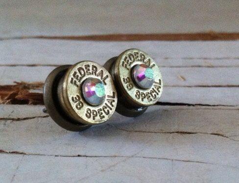 bullet earrings aurora borealis AB crystal studs bridesmaid gift camo wedding hunter diamond