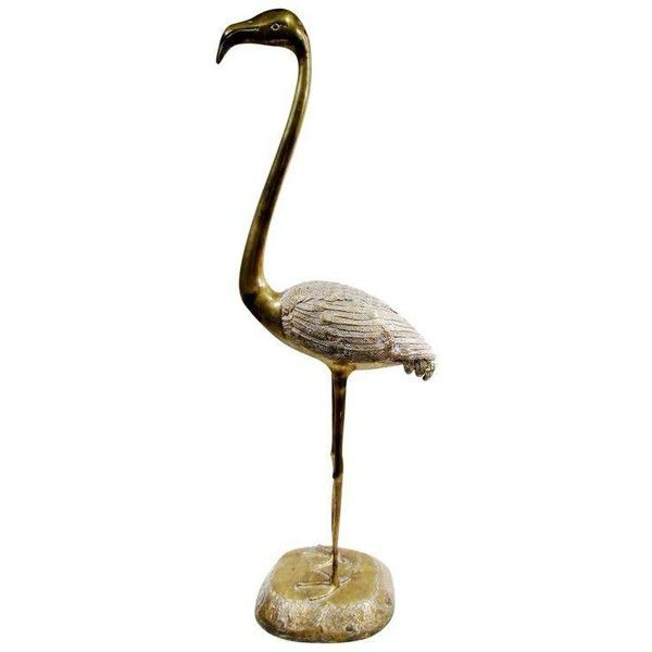Palm Beach Regency Style Brass Flamingo Floor Sculpture ($500) ❤ liked on Polyvore featuring home, home decor, models & figurines, brass home accessories, brass figurines, brass home decor, brass figure and brass sculptures