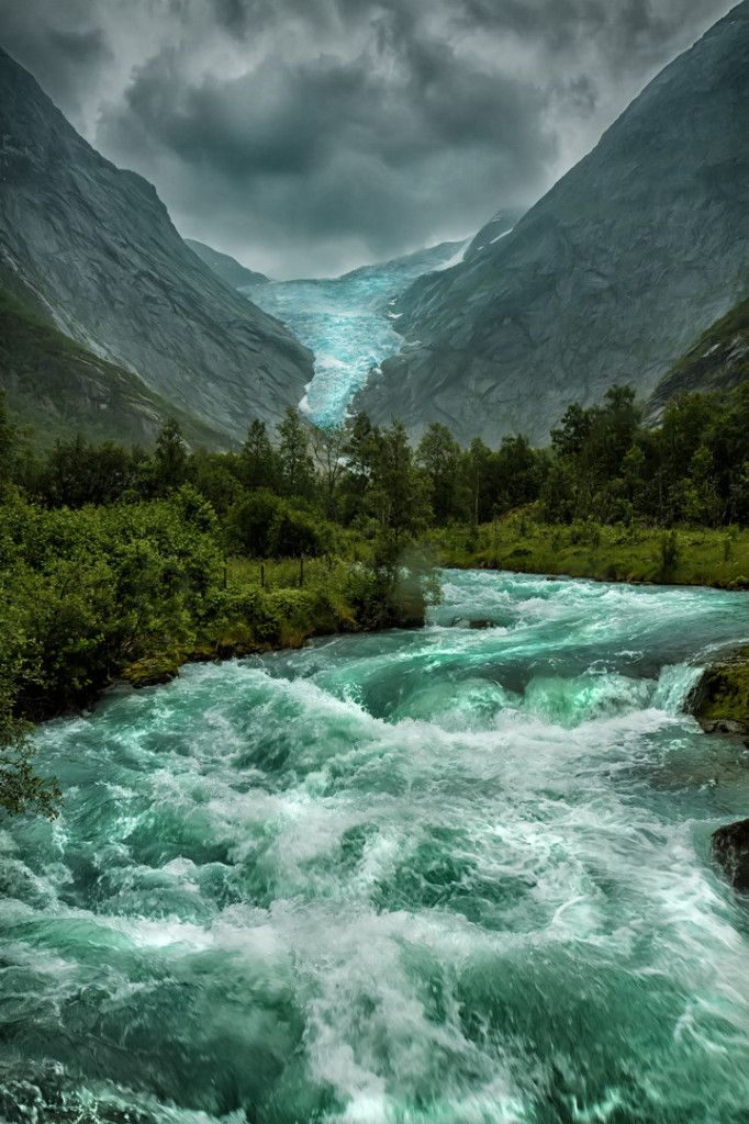 Briksdalsbreen Glacier , Norway. Tons of great stunning natural places on this list