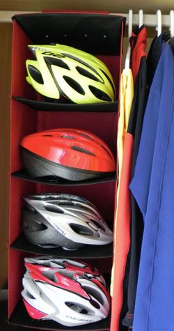 Use this approach for any kind of helmet?  Get a bigger shoe hanger….. Hanging bicycle helmets in the garageDavid Fishel