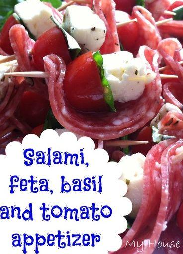 Easy appetizer. Salami, feta (or goat cheese), basil, tomatoes.