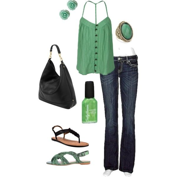 summer errands, created by chevyhartt81 on Polyvore: Green Shirts, Relaxing Outfits, Colors Stories, Great Outfits, Jeans, Tanks Tops, Mint Colors, Mornings Outfits, My Style