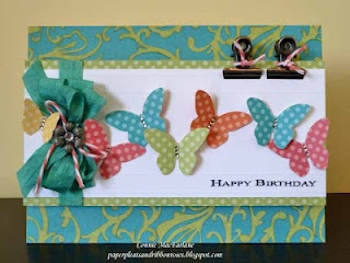 Dotty card: Cards Ideas, Crafts Cards, Cards Birthday, Handmade Cards, Ribbons Rose, Cards Patterns, Butterflies Cards, Cricut Cartridges, Ctmh Dotty