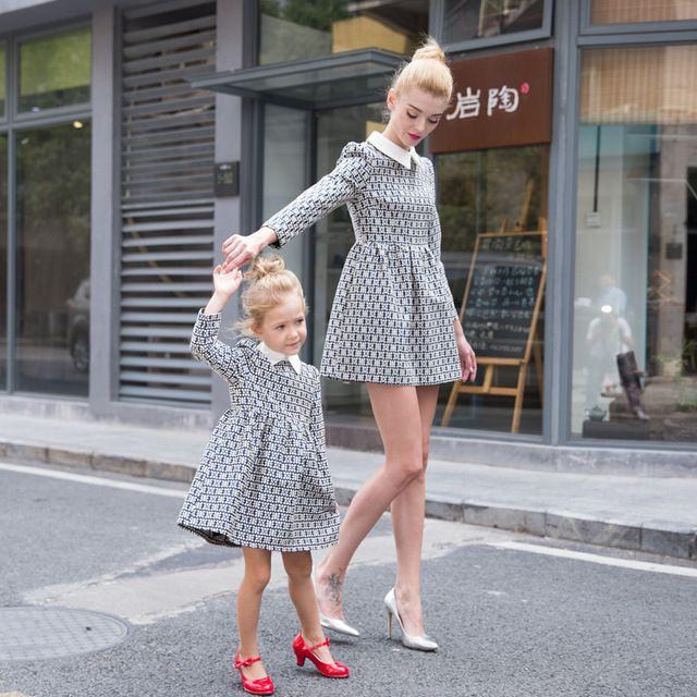 Avrupa İngiltere tarzı Sonbahar Kış anne kızı elbiseler rahat ekose eşleştirme anne ve kızı elbise için parti F26
