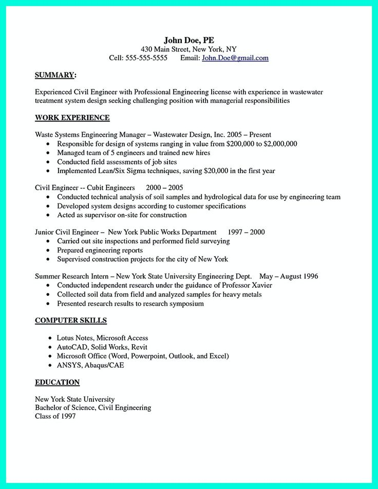 12 best cvs images on Pinterest Resume templates, Resume tips - junior civil engineer resume