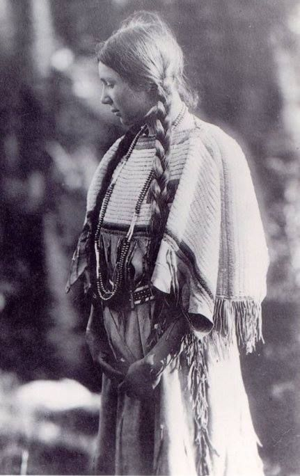 """A Cherokee woman, undated photo (early 1900s?). Today, the Cherokee Nation is comprised of three separate federally recognized tribes, and is the largest. Originally one of the """"Five Civilized Tribes"""", Cherokee were concentrated in the Southeastern US."""