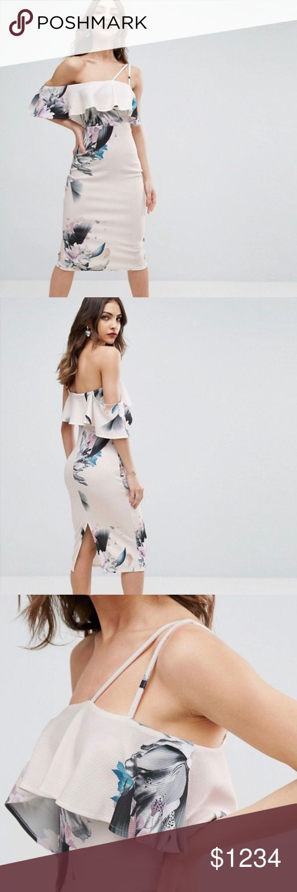 ISO Floral Ruffle Off Shoulder Double Strap Dress ATTENTION PLEASE: This listing is not for sale. I am in search for this dress! It is an ASOS original. Must be a size 4. Please comment below if you are selling this or please tag a seller you know who is. Thank you 😊 Asos Dresses Midi