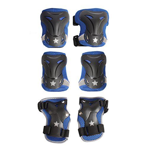 High Bounce Knee Pads and Elbow Pads with Wrist Guards Protective Gear Set for Biking, Riding, Cycling and Multi Sports Safety Protection: Scooter, Skateboard, Bicycle, Rollerblades (Blue,Teens)