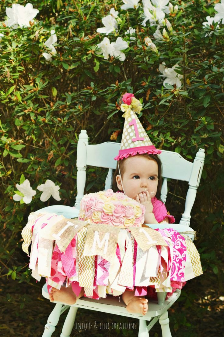 Hot Pink and Gold Birthday High Chair Fabric Strip Banner Garland by KraftinMommy on Etsy