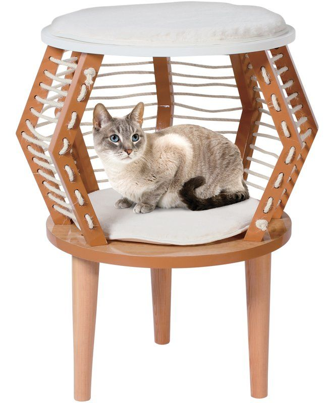 Penn Plax CatWalk furniture has surpassed the traditional concept of cat furniture by offering items that can better be described as pet home décor. These midcentury modern pieces are beautiful, high style designs. CatWalk Contemporary Décor rope rest area and side table is funky fresh for your home and cat! Offers unique design and cozy hideaway.
