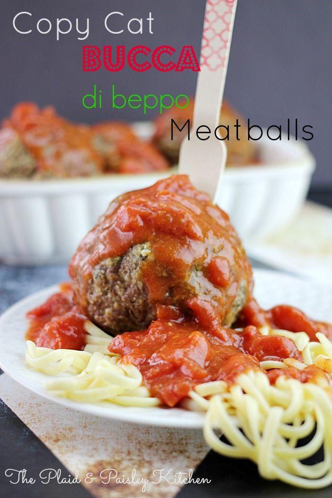 Copy Cat Bucca di beppo Meatballs ~ The Plaid and Paisley Kitchen ~ www.pandpkitchen.com