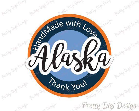 Digital Hand Made with love in Alaska round sticker design, Alaska jpg, png, eps, svg, dxf,  Alaska logo design, Alaska printable design