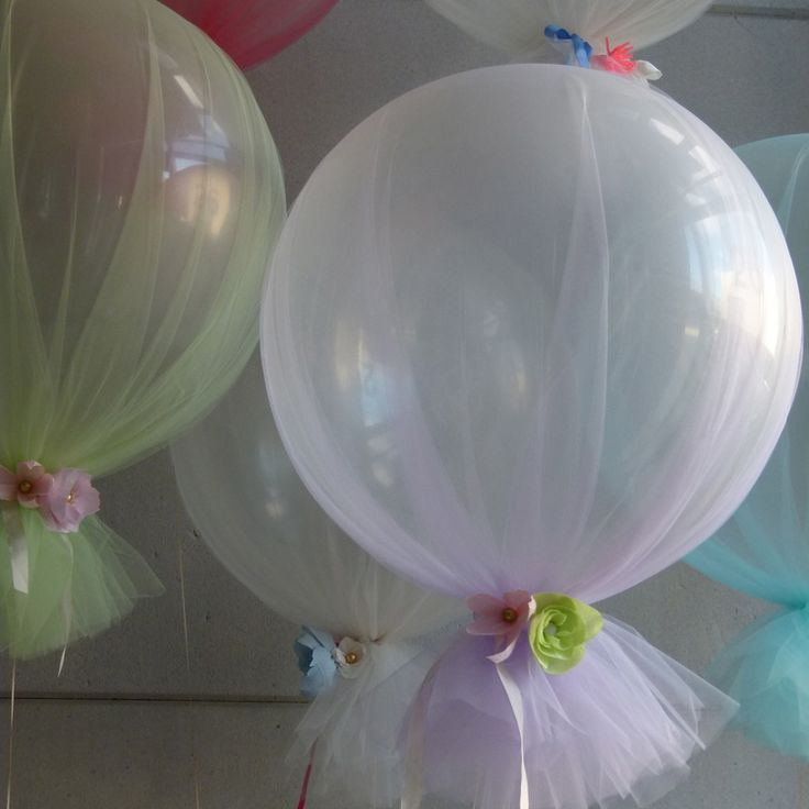 Love these tulle wrapped balloons! The balloons themselves, are the large sized [think exercise ball], not regular.