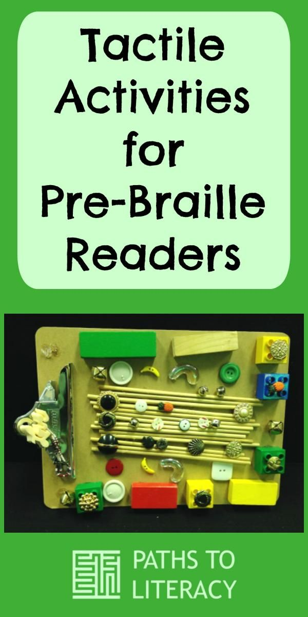 Tactile activities for pre-braille readers