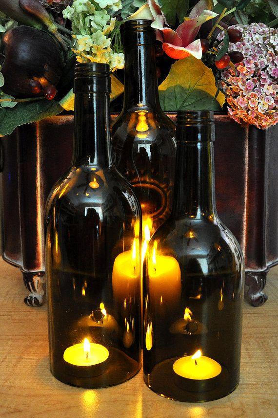 Wine bottle candles wedding centerpiece set of 3 for Clear wine bottle centerpieces