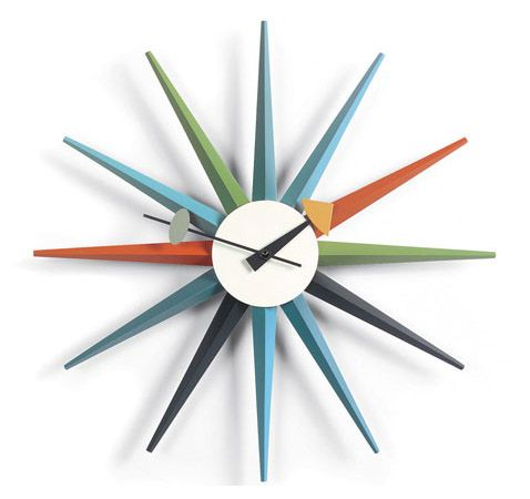 Vitra Sunburst Clock: Designer George Nelson's clocks have been featured in MoMa.  #clock #home #office #furniture #decor  http://www.aof.com/products/sunburst-clock