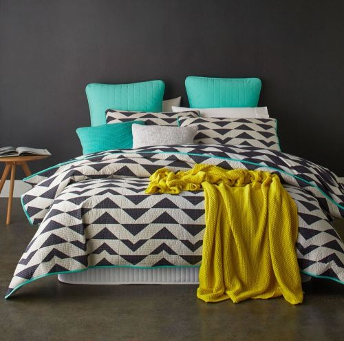 Home Republic Xavier - Grey - Bedroom Quilt Covers & Coverlets - Adairs online