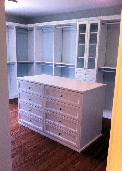 Master Closet Design Ideas : Id replace two sections of bars with two chests-of-drawers, instead of the random island.