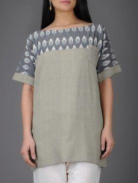 Grey-Ivory Ikat Khadi Cotton Tunic